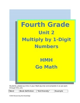Math - 4th Grade HMH Unit 2 Multiply by 1-Digit Numbers