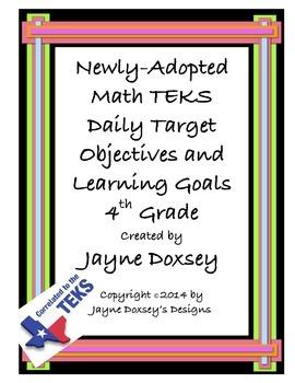 Math 4th Grade TEKS Daily Target Objectives