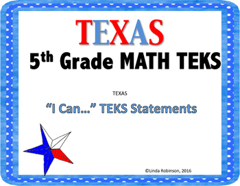 Math 5th Grade TEKS I can Statements, Blue Polkadots Border