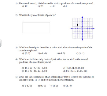 Math 6 The Coordinate System Final Formative and Study Gui