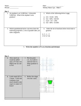 Math 7 Daily Warm Ups for 33 weeks