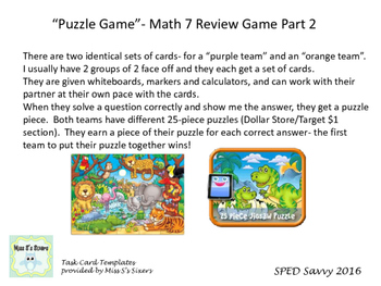 Math 7 SOL Remediation Puzzle Game Part 2 Review Middle Sc