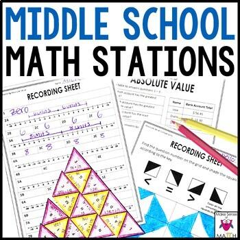 Math Stations Middle School Bundle
