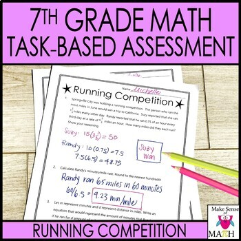 Math 7 Task-Based Assessment Rational Numbers Tables Graph