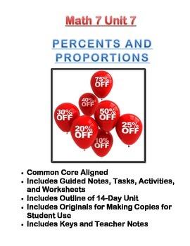 Math 7 Unit Bundle: Percents and Proportions