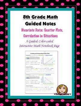 Math 8 Guided Interactive Math Notebook Page: Scatter Plot