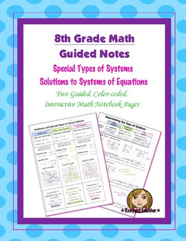 Math 8 Guided Interactive Math Notebook Pages: Special Typ