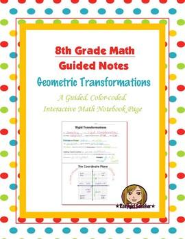 Math 8 Guided Interactive Math Notebook Page: Transformati