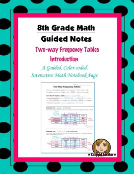 Math 8 Guided Interactive Math Notebook Page: Two-way Freq