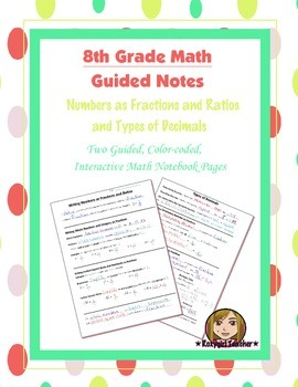 Math 8 Guided Interactive Math Notebook Pages: Ratios and