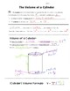 Math 8 Guided Interactive Math Notebook Page: Volume of a