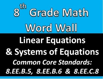 Math 8 Word Wall: Linear Equations & Systems of Equations