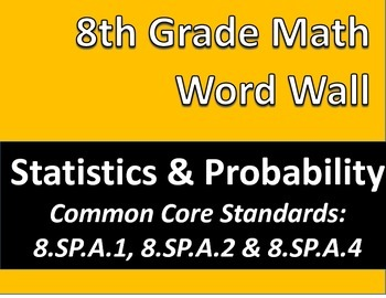 Math 8 Word Wall: Statistics & Probability Common Core Aligned