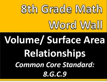 Math 8 Word Wall: Volume & Surface Area Relationships Comm