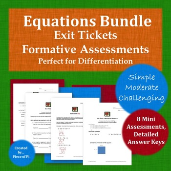 Equations 8.EE.7 Exit Ticket Bundle Differentiation Simple