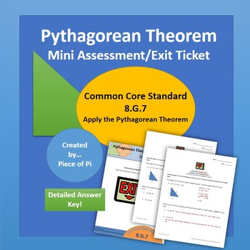 Pythagorean Theorem Converse Math 8.G.7 Exit Ticket/Mini Q