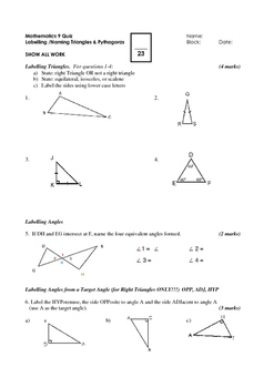 Math 9 Quiz: Naming/Labelling Triangles and Pythagoras wit