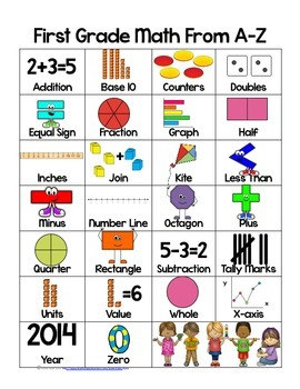 Math ABCs for First Grade Poster in Color and BW