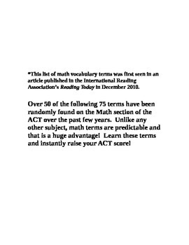 ACT Test-Math Vocabulary Lists