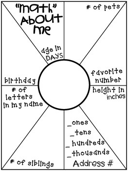Math About Me Graphic Organizer - Back to School activity