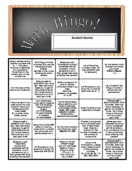 Math Activities Bingo Fun