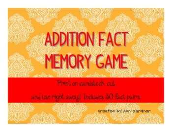 Math - Addition Fact Concentration/Memory Game