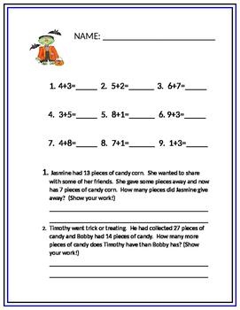 Math Addition Halloween Worksheet