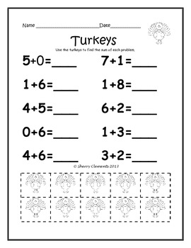 November Addition Problems with Manipulatives