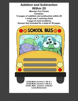 Math Addition & Subtraction Within 20 Worksheets-Funny Mon