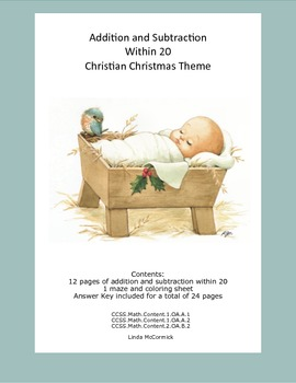 Math Addition & Subtraction Within 20 Worksheets-Religious