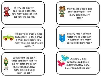 Math Addition Word Problem Flash Cards. Preschool flash ca