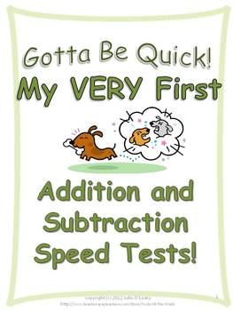 Math Addition and Subtraction Speed Tests- for Kinder and 1st!