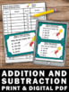 Addition and Subtraction Task Cards 1st 2nd Grade Math Cen
