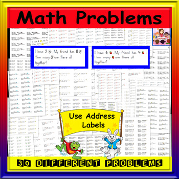 Math- Addition/Journal Prompts -30 problems (sticky labels