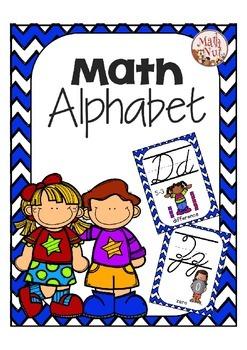 Cursive Alphabet Posters Math: Royal Blue Chevron