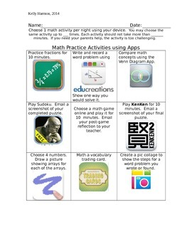 Math App Homework Tic-Tac-Toe Chart and Letter