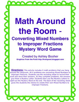 Math Around the Room Mystery Game-Converting Mixed Numbers