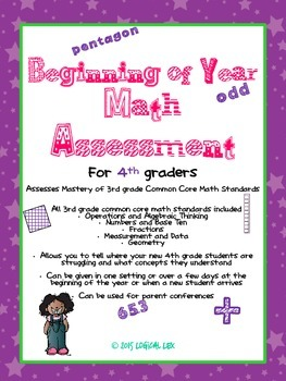 Math Assessment Beginning of Year-4th Grade