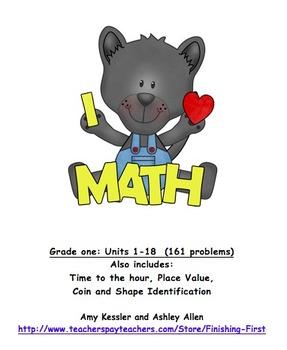 Math Assessment Grade 1, Meets Common Core Standards Trimester 3