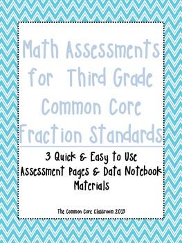 Math Assessments for  Third Grade CCSS Fraction Standards-
