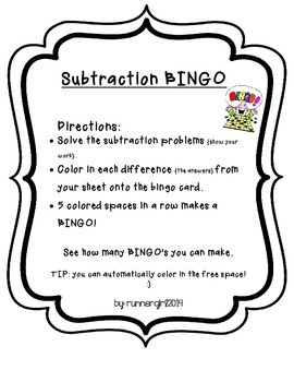 Math BINGO- Subtraction