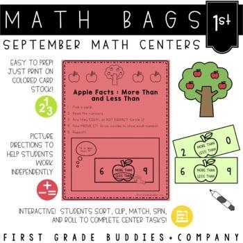 Math Bags for 1st Grade: Fall Version! (10 Fall Themed Mat