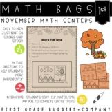 Math Bags for 1st Grade: Thanksgiving Version! (10 Thanksg