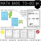 Math Bags for 1st Grade: To-Go {40 Printable, No Prep Comm