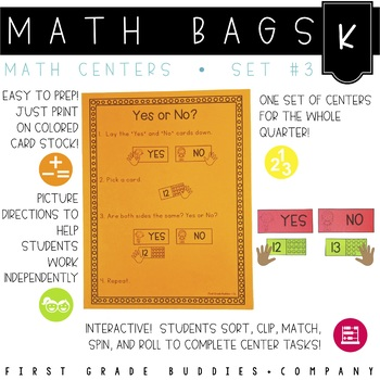 Math Bags for Kindergarten Set 3 (12 Common Core Aligned M