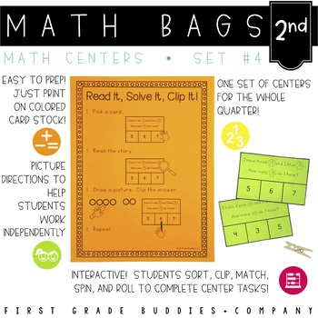 Math Bags for Kindergarten Set 4 (12 Common Core Aligned M