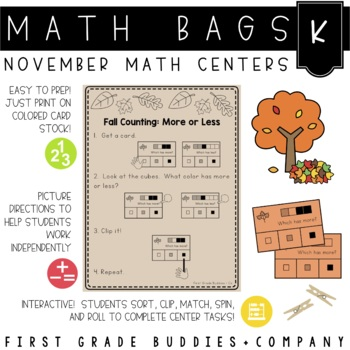 Math Bags for Kindergarten: Thanksgiving Version! (10 Than