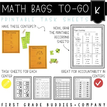 Math Bags for Kindergarten: To-Go {30+ Printable, No Prep