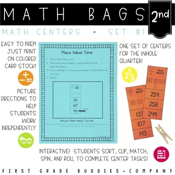 Math Bags for 2nd Grade Set 1 (10 Common Core Aligned Math