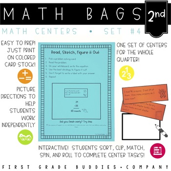 Math Bags for 2nd Grade Set 4 (10 Common Core Aligned Math